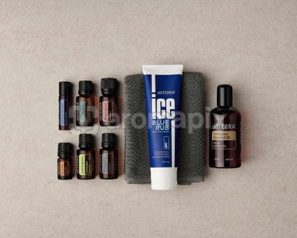 doTERRA Active Sports Wellness Box with a towel on a marble benchtop.