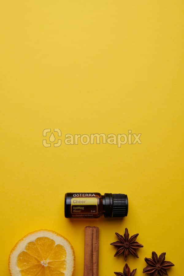 doTERRA Cheer with a vanilla bean, cinnamon stick and star anise on a yellow card stock background.