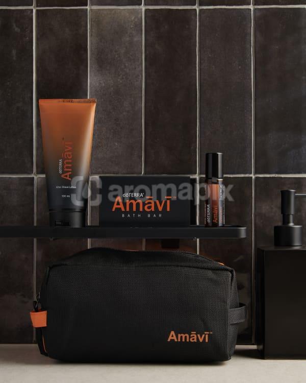 doTERRA Amavi After Shave Lotion, Amavi Touch, Amavi Bath Bar and Amavi bag in a bathroom.