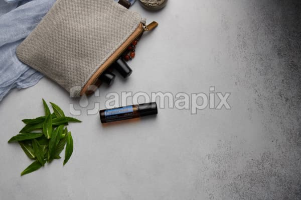 doTERRA Peppermint Touch with clutch, accessories and mint leaves on a white concrete background.