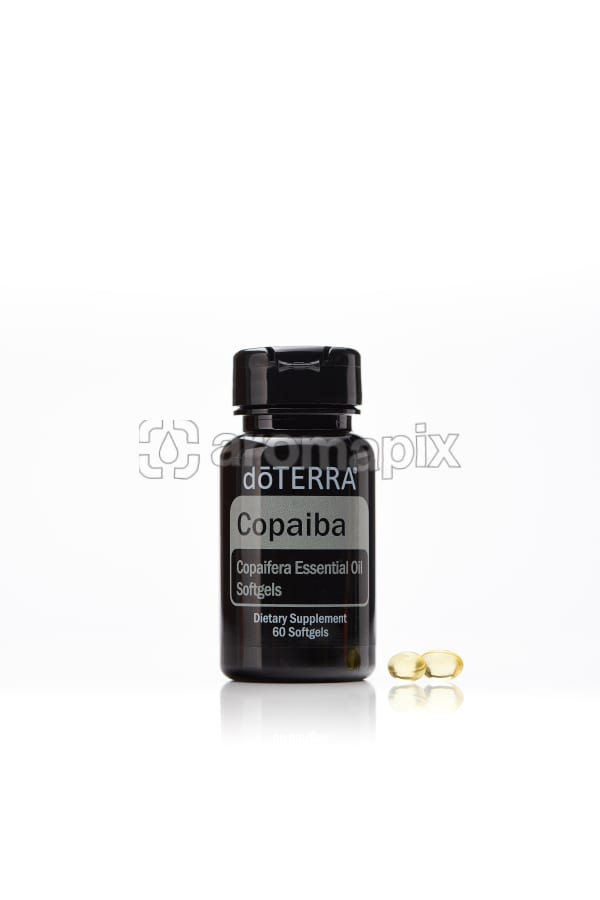 doTERRA Copaiba Softgels with two softgels on a white background with reflection.