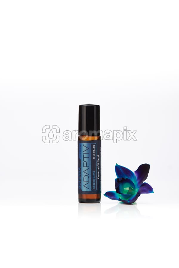 doTERRA Adaptiv Touch with a blue orchid on a white background with reflection.