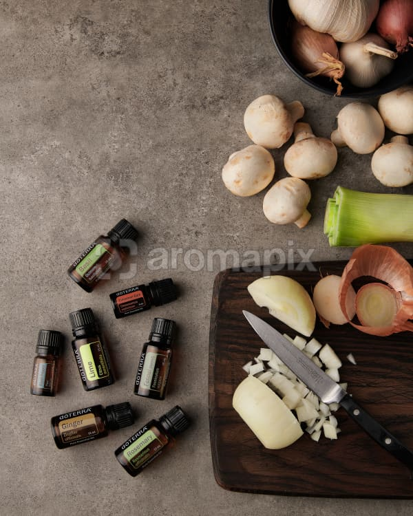 doTERRA Gourmet Cooking Wellness Box with food ingredients on a kitchen bench.