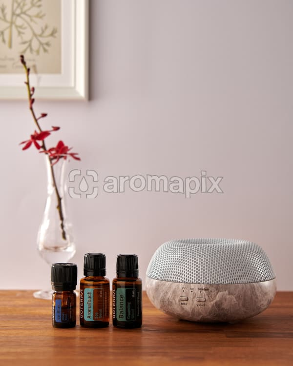 doTERRA Brevi Stone diffuser with Ice Blue, AromaTouch and Balance essential oils on a side table.