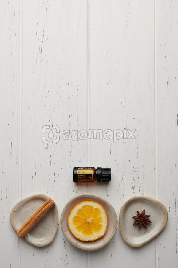 doTERRA Cheer with a cinnamon stick, orange slice and star anise in individual ceramic dishes on a white wooden background.