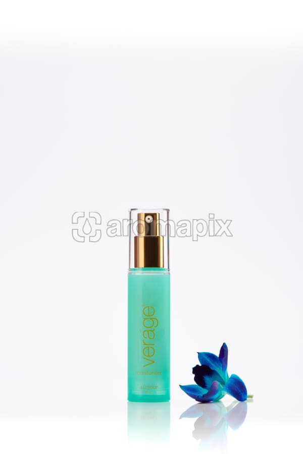 doTERRA Verage Moisturiser with a blue orchid on a white background with reflection.