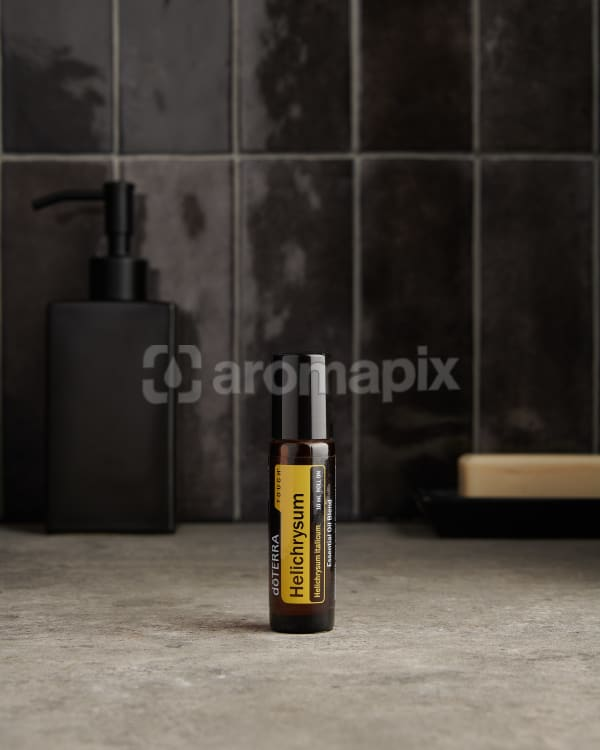 doTERRA Helichrysum Touch on a bathroom benchtop.