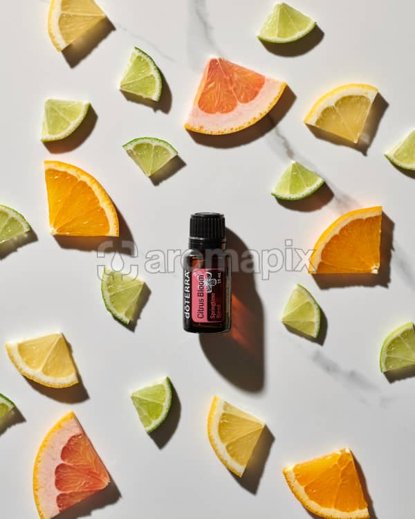 doTERRA Citrus Bloom essential oil blend and slices of citrus fruits on a white marble background.