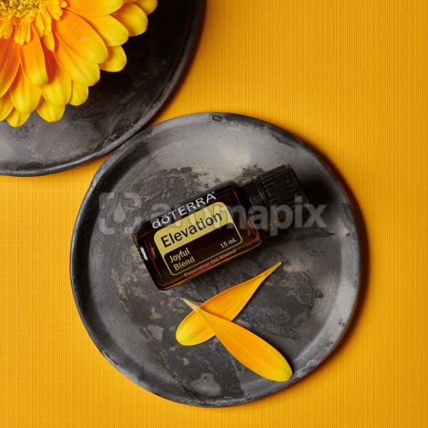 doTERRA Elevation essential oil blend and flower petals on a ceramic plate and part of a yellow flower on a ceramic plate on a yellow textured background.