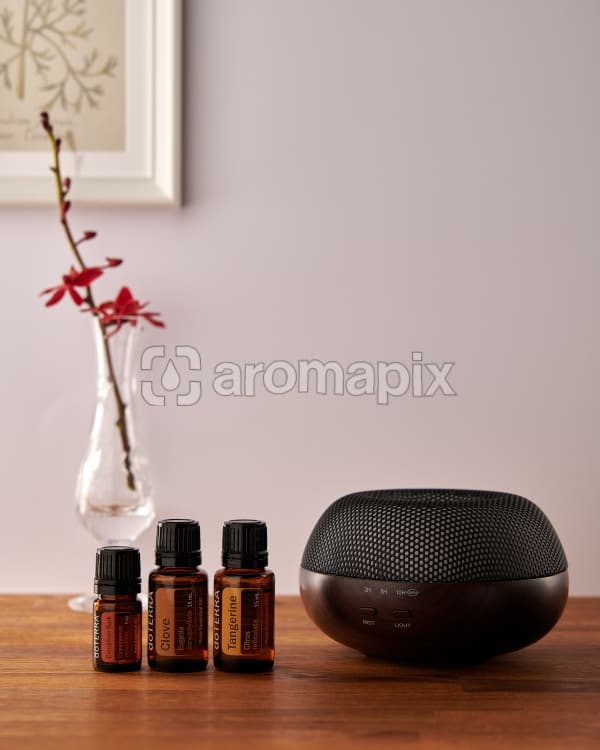 doTERRA Brevi Walnut diffuser with Cinnamon, Clove and Tangerine essential oils on a side table.