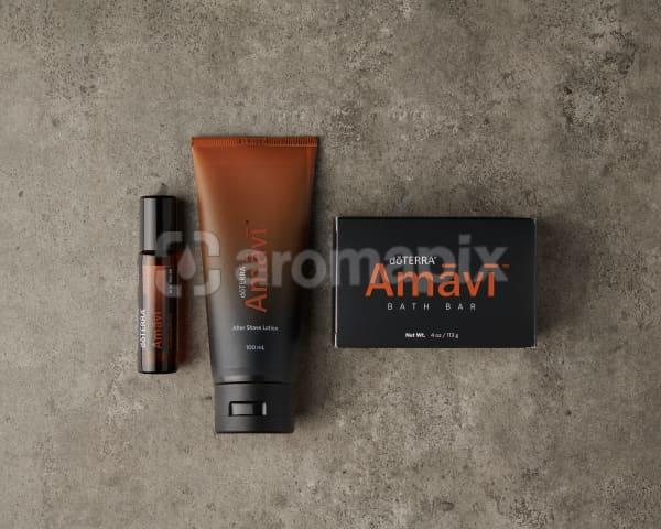 doTERRA Amavi Touch, Amavi After Shave Lotion and Amavi Bath Bar on a gray stone background.