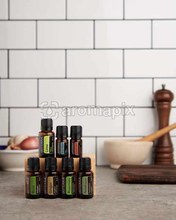 doTERRA Gourmet Cooking Wellness Box on a kitchen  bench with space to add your message.