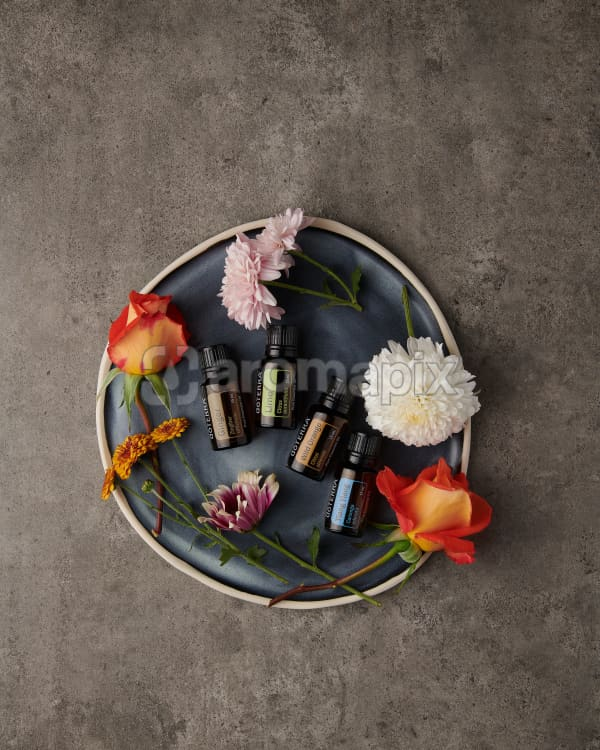 doTERRA Ginger, Lime, Wild Orange and Ylang Ylang with flowers scattered on a blue ceramic plate on a gray stone background.