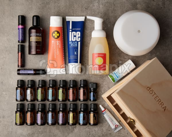 doTERRA Nature's Solution Enrolment Kit on a gray stone background.