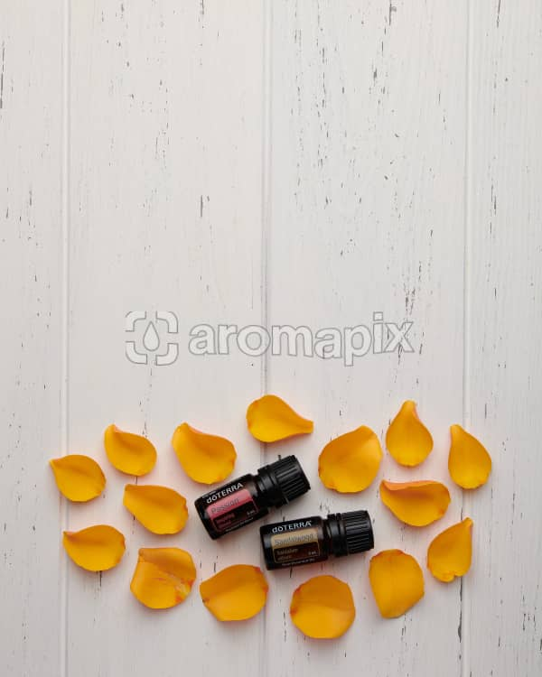 doTERRA Passion and Sandalwood with golden yellow rose petals on a white wooden background.