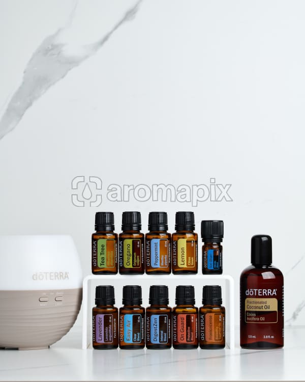 doTERRA Home Essentials Starter Pack on a white marble background.