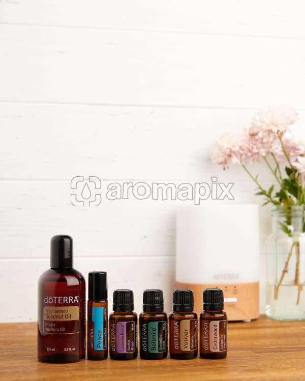 doTERRA Bedtime Bliss Wellness Box on a bench with copy space to add your message.