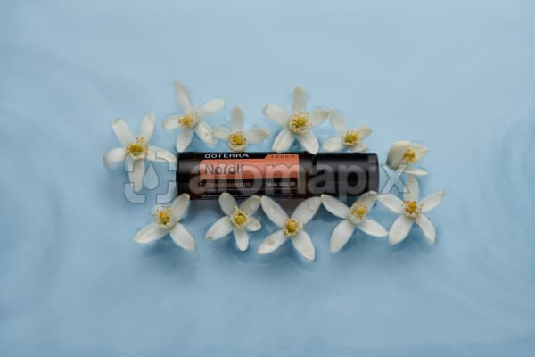 doTERRA Neroli Touch and orange blossoms floating in water with blue background.
