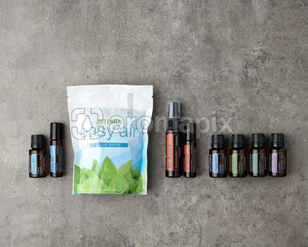 doTERRA Seasonal Essentials Wellness Box Starter Pack on a gray stone background.