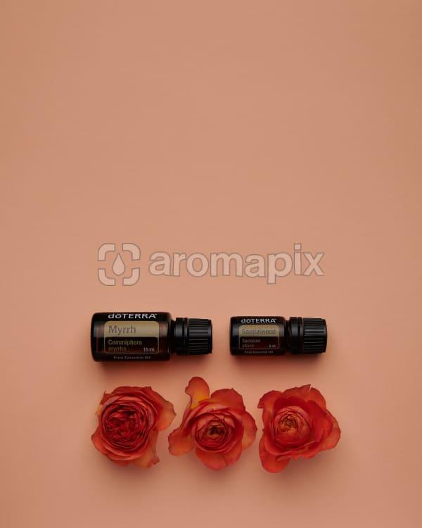 doTERRA Myrrh and Sandalwood with orange roses on a pale orange card background.