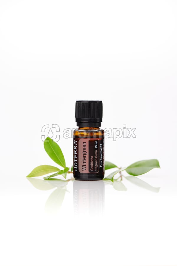 doTERRA Wintergreen with leaves on a white background with reflection.