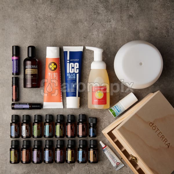 doTERRA Nature's Solution Enrolment Kit on a gray stone background in a square format.