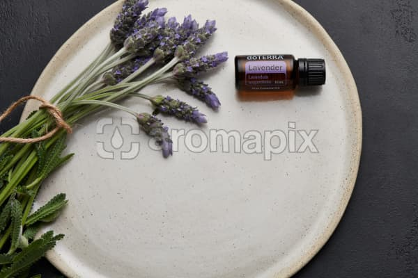 doTERRA Lavender and lavender stems tied with twine on a white ceramic plate with a black concrete background.