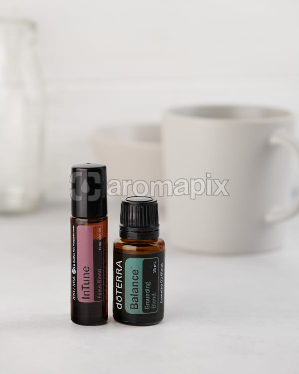 doTERRA InTune 10ml and doTERRA Balance 15ml on a white background.