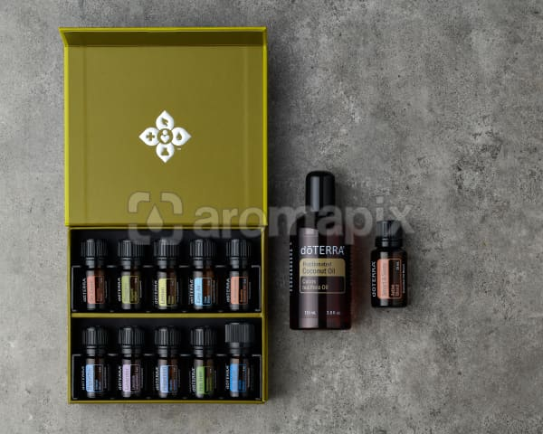 doTERRA Family Essentials Starter Pack with Smart and Sassy on a gray stone background.