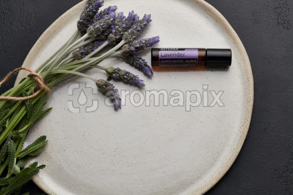 doTERRA Lavender Touch and lavender stems tied with twine on a white ceramic plate with a black concrete background.