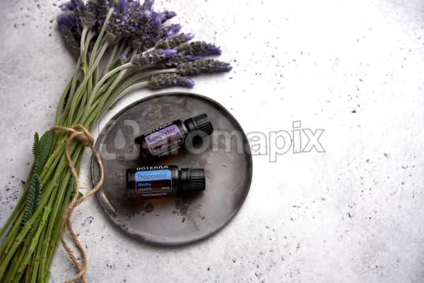 doTERRA Lavender and Peppermint on a ceramic plate with lavender stems tied with twine on a white concrete background.