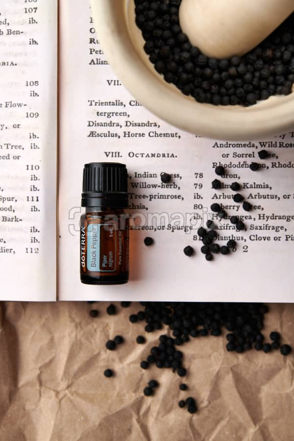doTERRA Black Pepper on a vintage botany book with dried black pepper in a mortar and pestle and vintage black pepper illustrations.