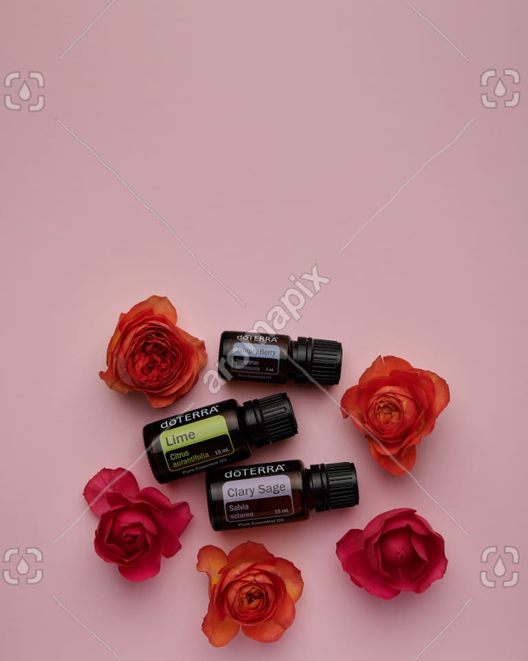doTERRA Juniper Berry, Lime and Clary Sage with roses on pink