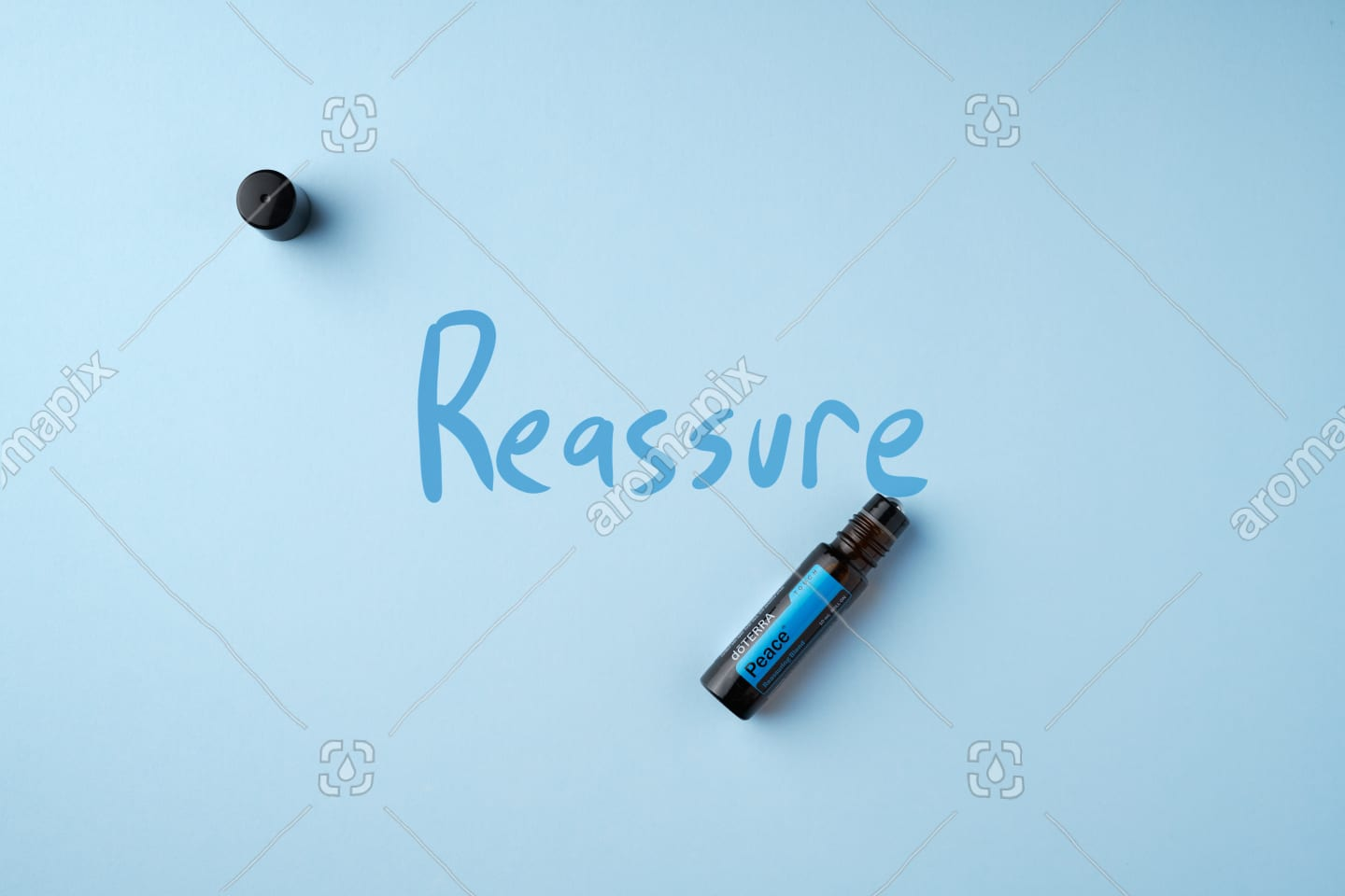 doTERRA Peace Touch on light blue - Reassure