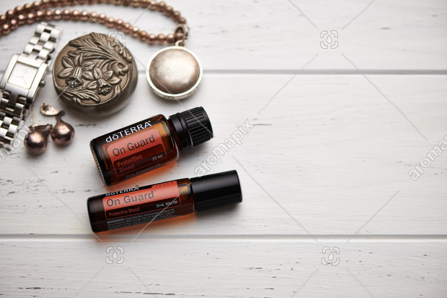 doTERRA On Guard and On Guard Touch on rustic background