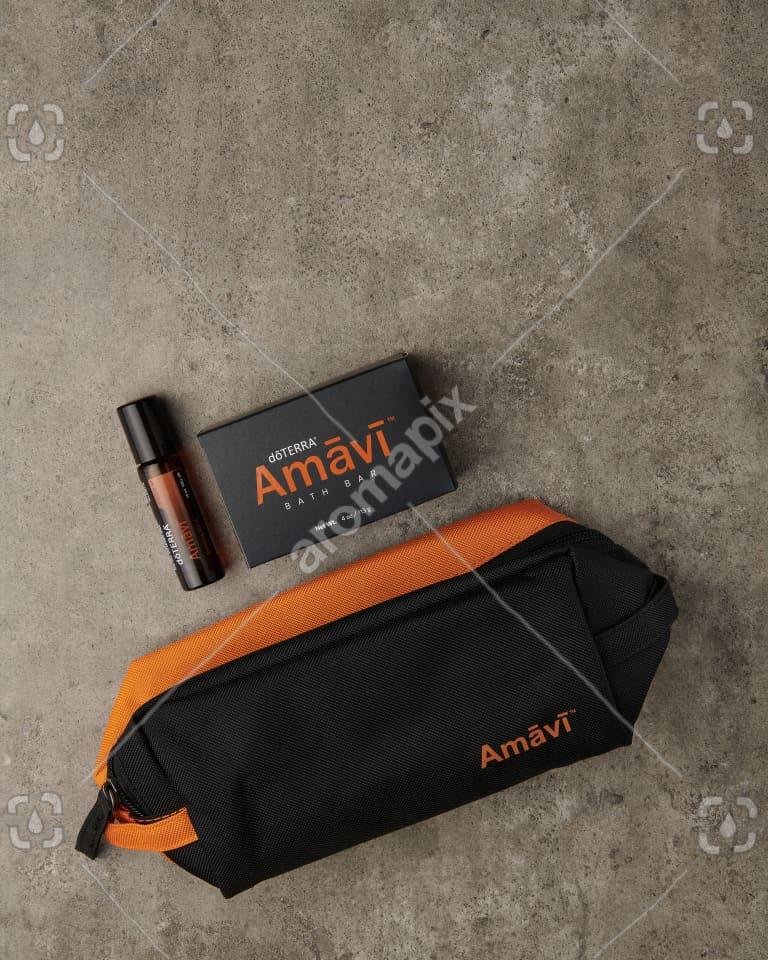 doTERRA Amavi Touch, Amavi Bath Bar and Amavi bag on gray