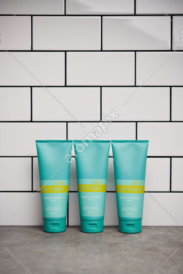 doTERRA Spa Hand and Body Lotions on bathroom benchtop