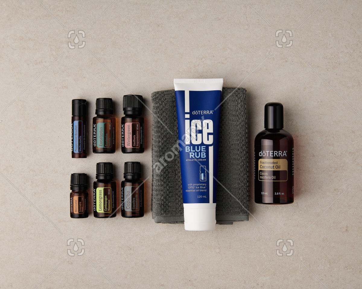 doTERRA Active Sports Wellness Box on marble