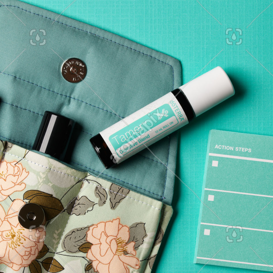 doTERRA Tamer with accessories on  turquiose blue