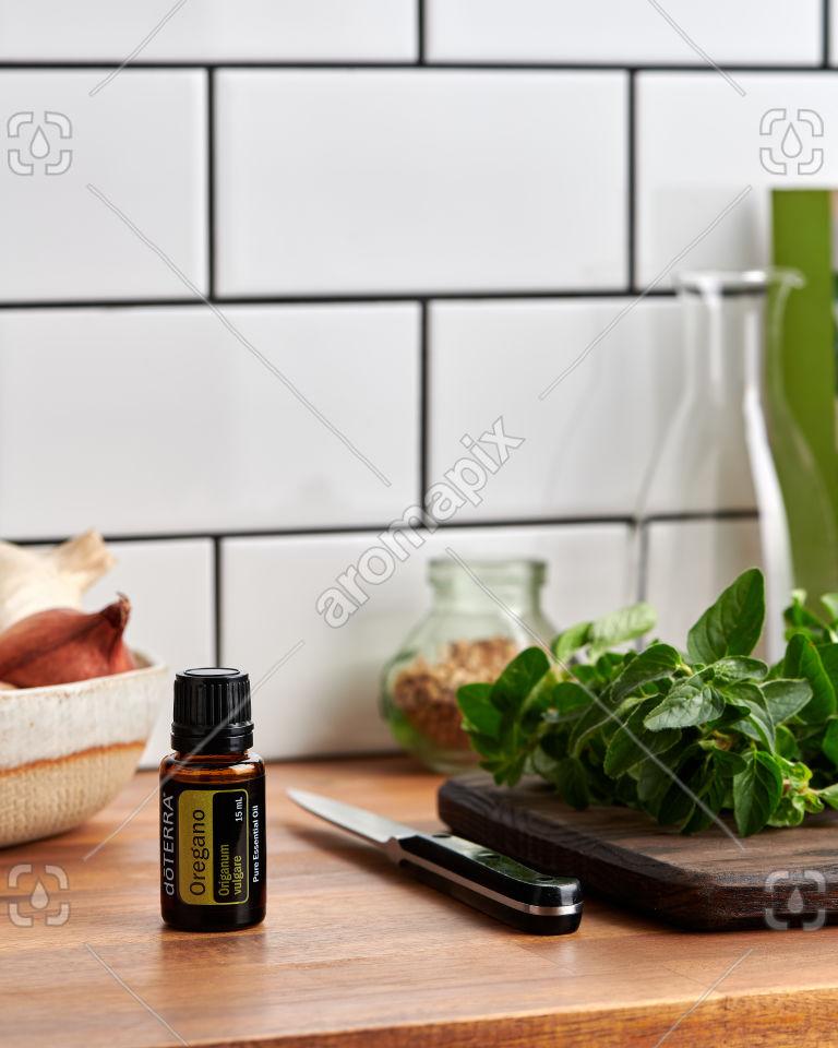 doTERRA Oregano on a kitchen bench
