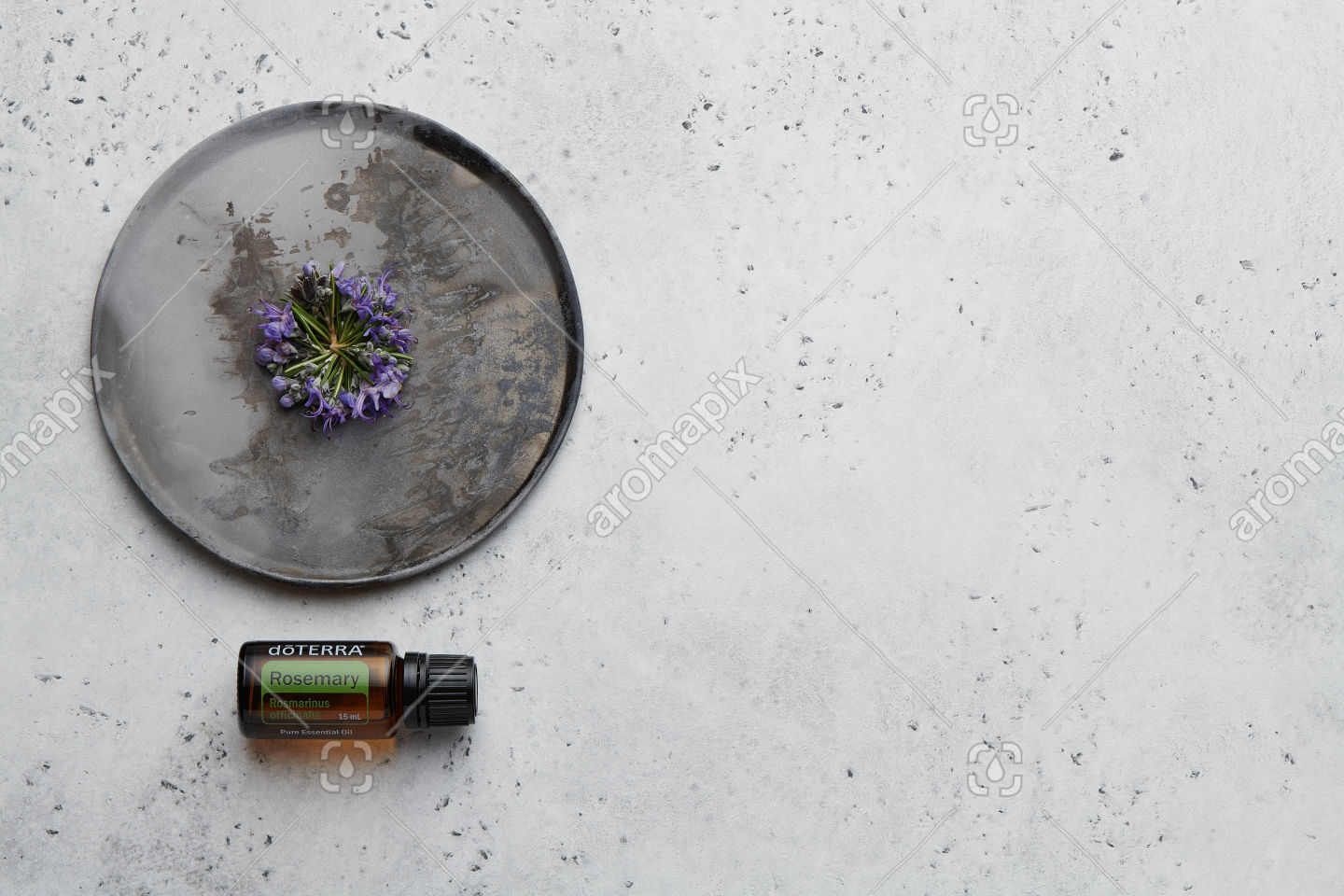 doTERRA Rosemary with rosemary flowers on white