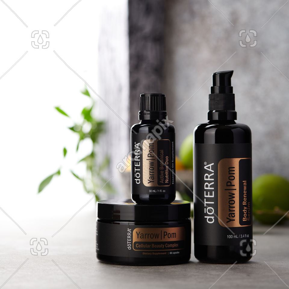 doTERRA Yarrow Pom Collection on a bench