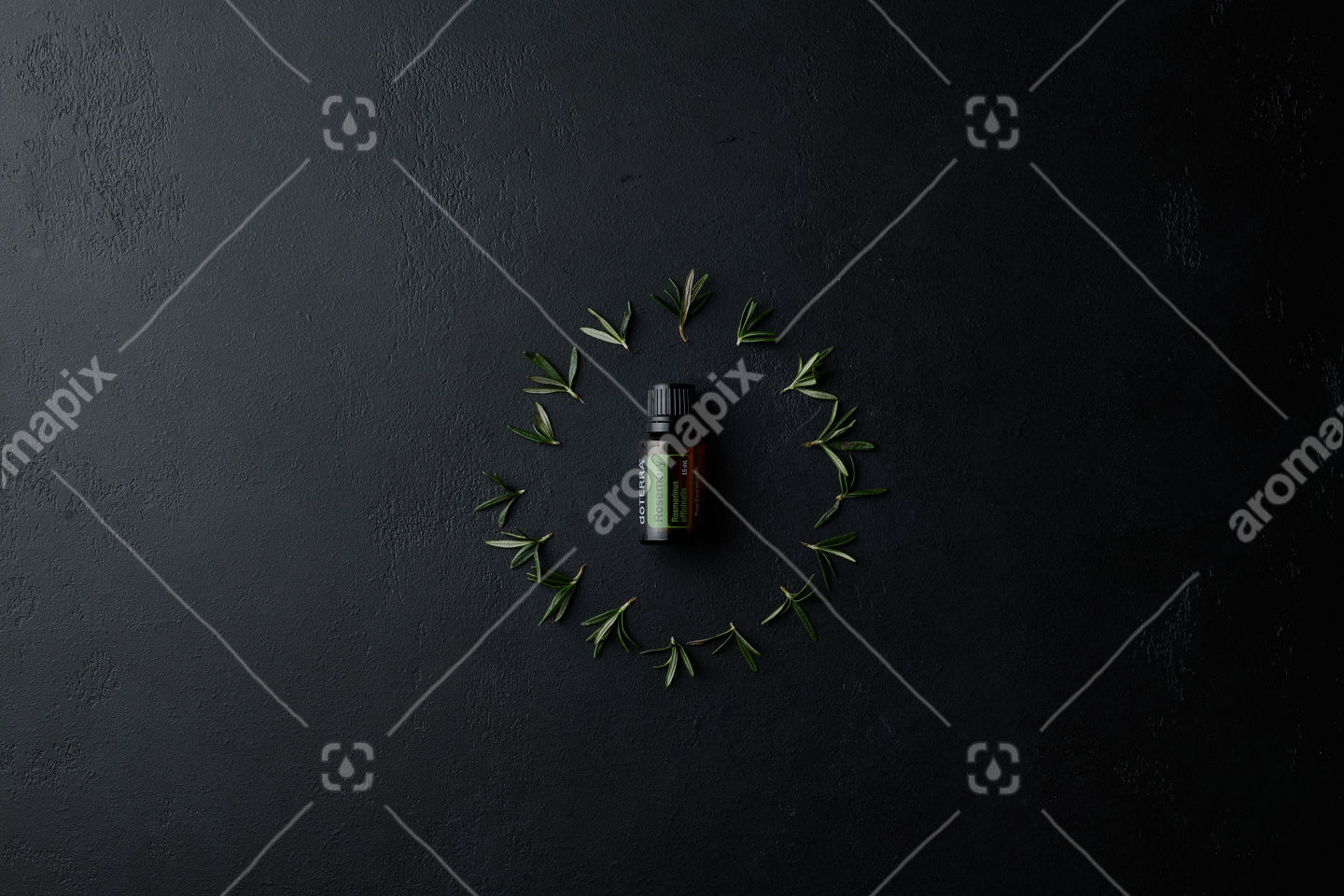 doTERRA Rosemary with rosemary leaves in a circle