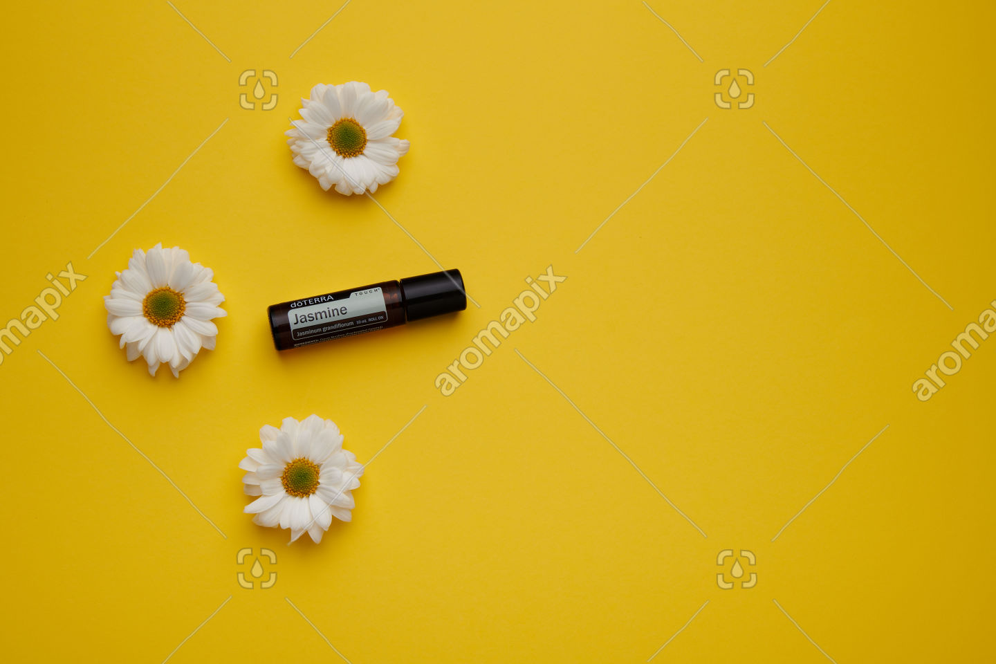 doTERRA Jasmine Touch with flowers and on yellow