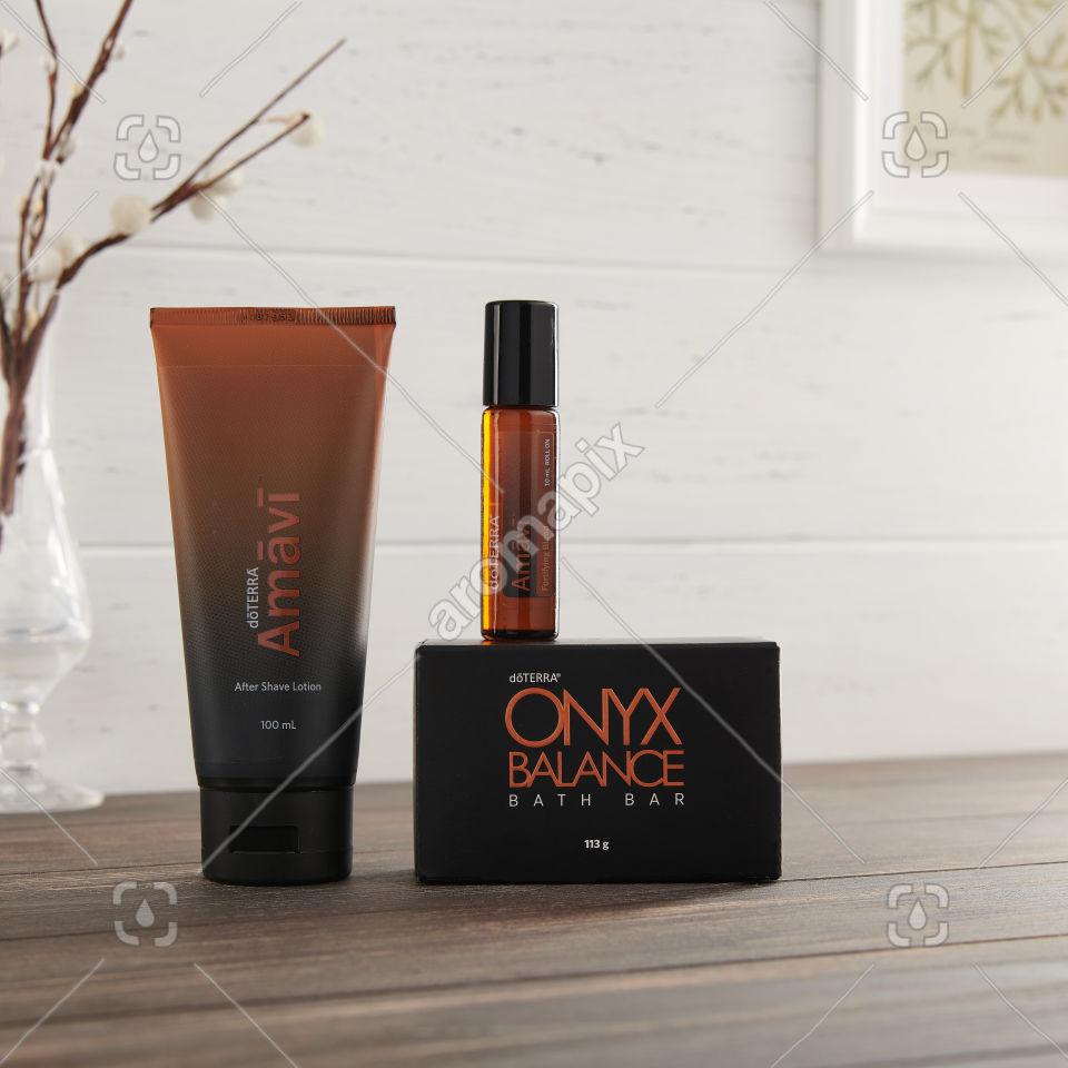 doTERRA Amavi After Shave Lotion, Amavi Touch and Onyx Balance Bath Bar on a side table