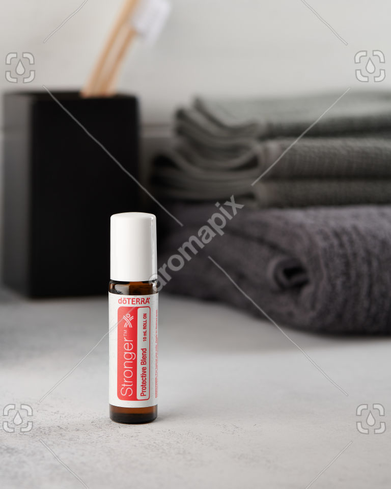 doTERRA Stronger on a bathroom bench