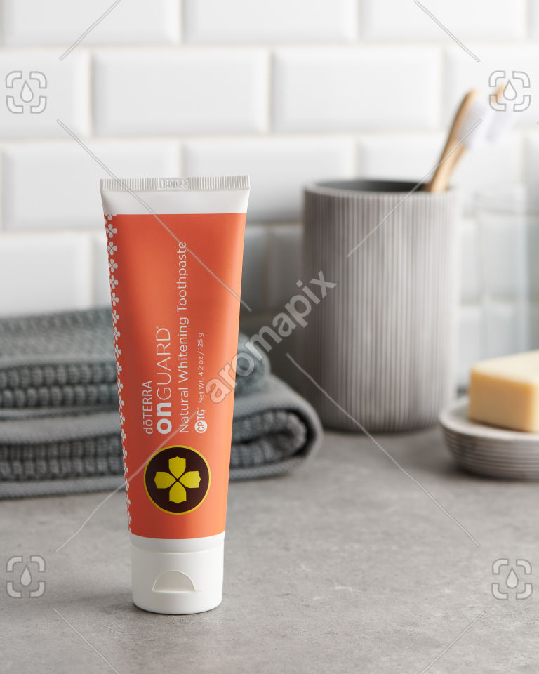 doTERRA On Guard Toothpaste in the bathroom