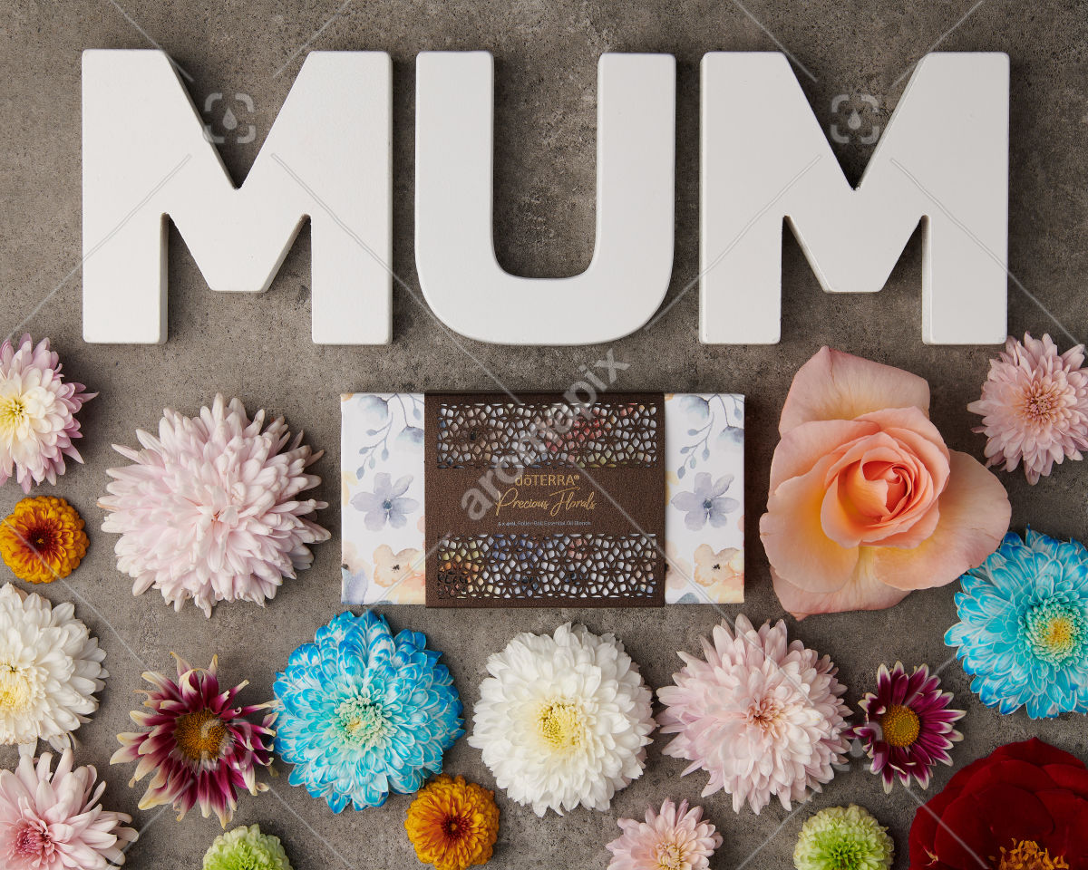 doTERRA Precious Florals Collection with M U M letters and flowers on gray