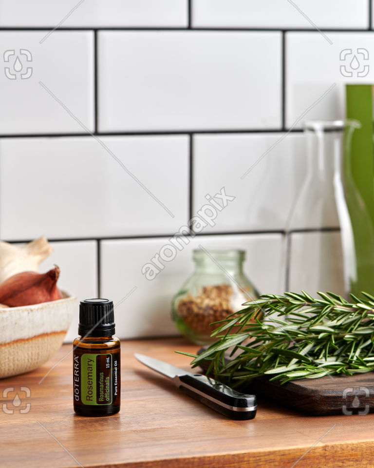 doTERRA Rosemary on a kitchen bench