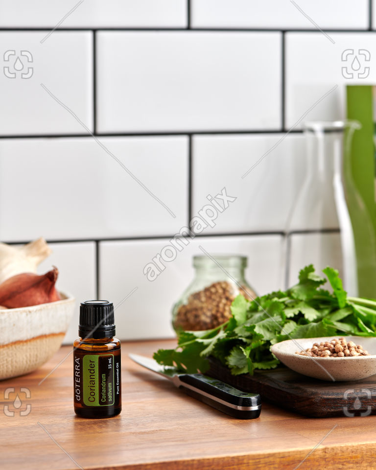 doTERRA Coriander on a kitchen bench